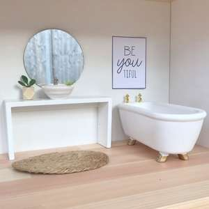 modern dollhouse bathroom package, modern dolls house bathroom, modern dolls house bath, modern dollhouse bath, dollhouse vanity, dollshouse vanity