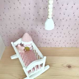 modern dollhouse cradle, modern dolls house cradle, modern dollhouse furniture, boho dollhouse, scandi dollhouse, dollhouse UK, DIY dollhouse ideas