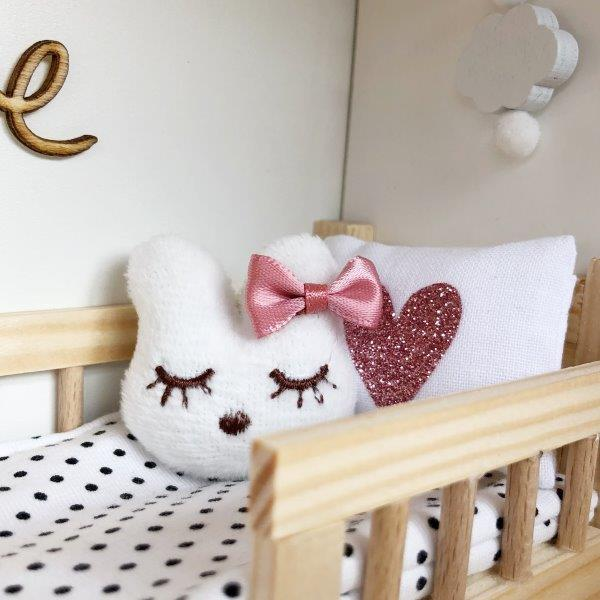 modern dollhouse cushion, modern dolls house pillow, miniature bunny cushion, modern dollhouse decor, dollhouse kid room