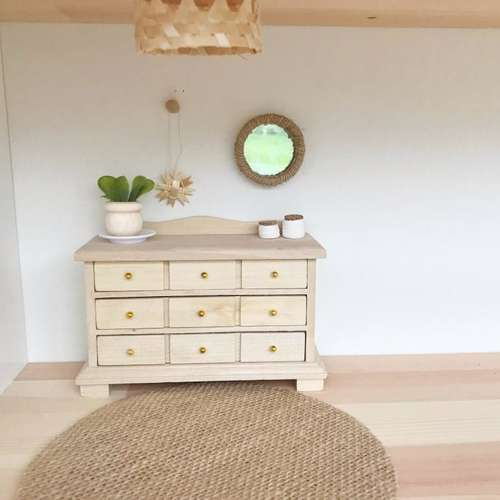 modern miniatures, modern dollhouse, modern dolls house, DIY modern dollhouse, modern dollhouse sideboard, dollhouse chest of drawers, dollhouse natural wood, dollhouse boho