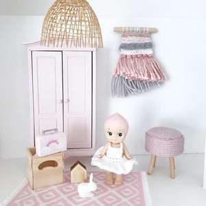 modern miniatures, modern dollhouse, modern dolls house, DIY modern dollhouse, modern dollhouse rattan lampshade, dollhouse lightshade, dollhouse rattan light, dollhouse lampshade