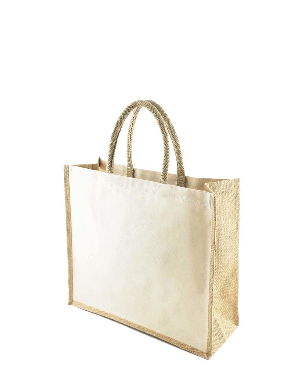 Canvas Bag with Jute Gussets