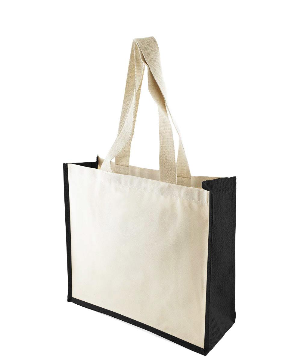 Canvas Bag with Black Jute Gussets