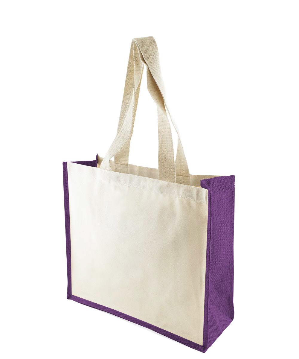 Canvas Bag with Purple Jute Gussets