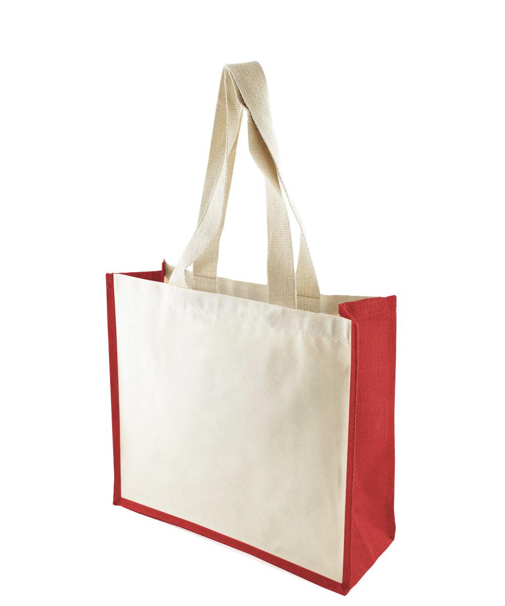 Canvas Bag with Red Jute Gussets
