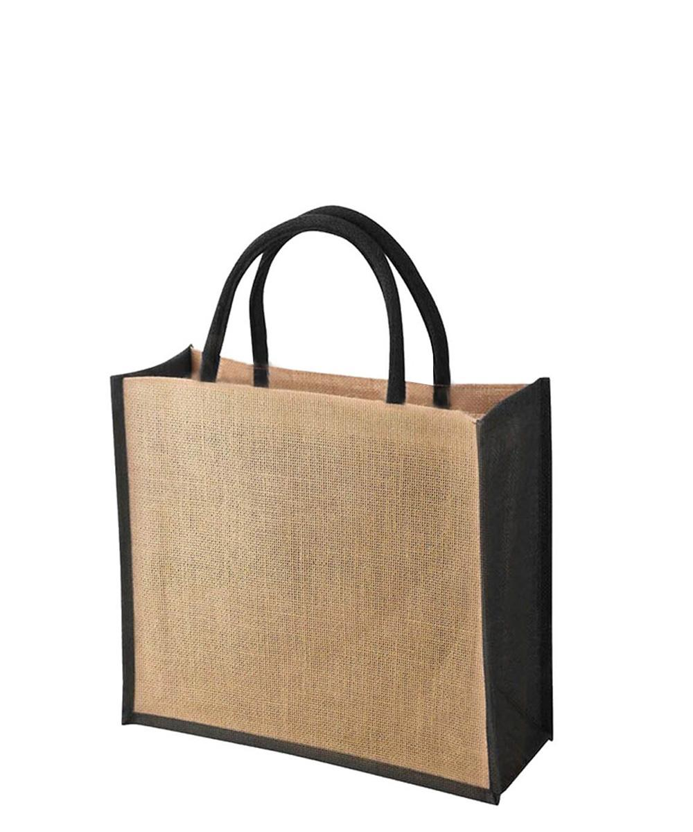 Jute Bag with Black Gussets
