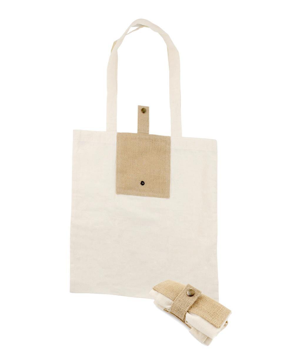 Foldable Bag with Jute Pocket