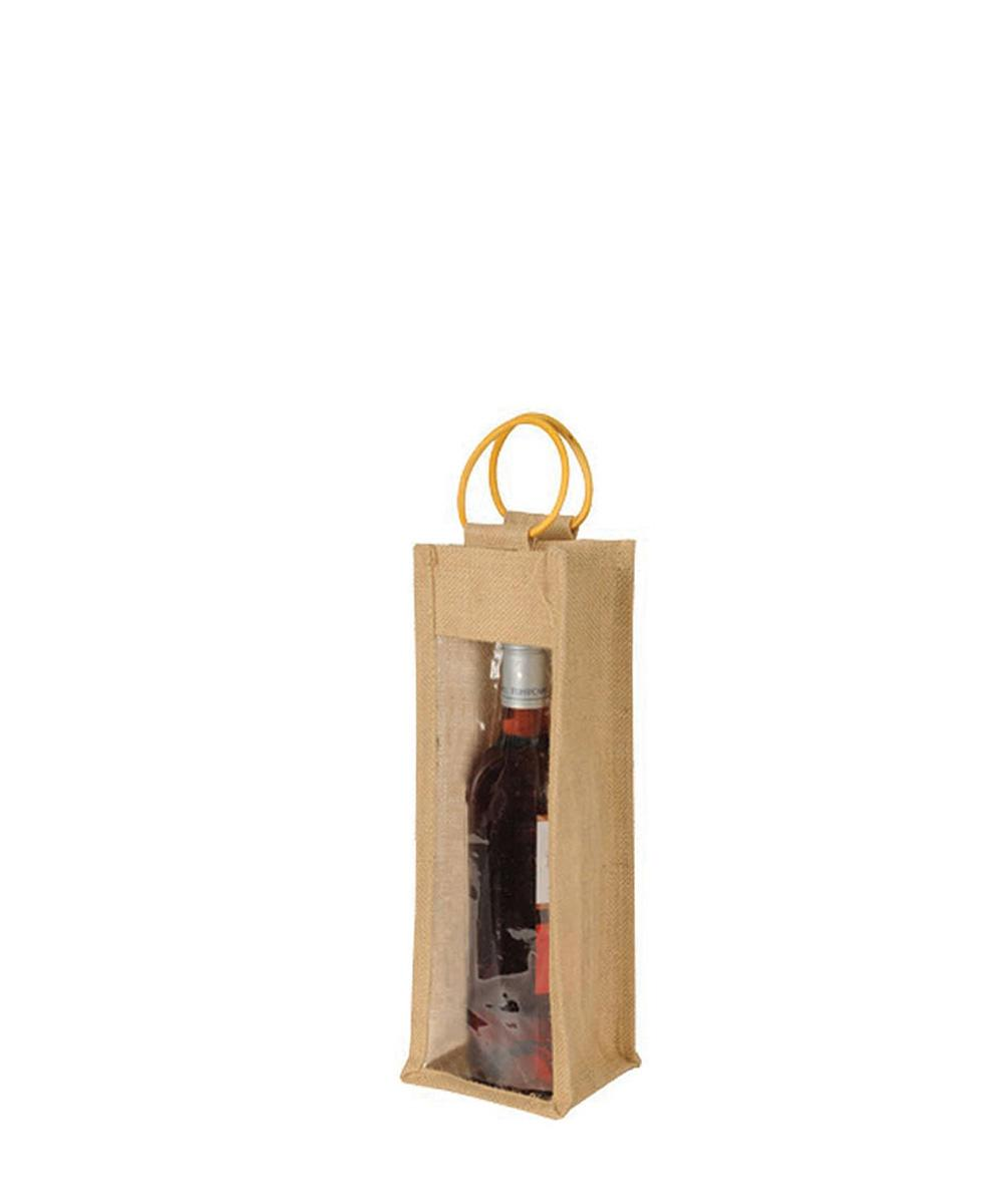 1 Bottle Jute Gift Wine Bag with Window