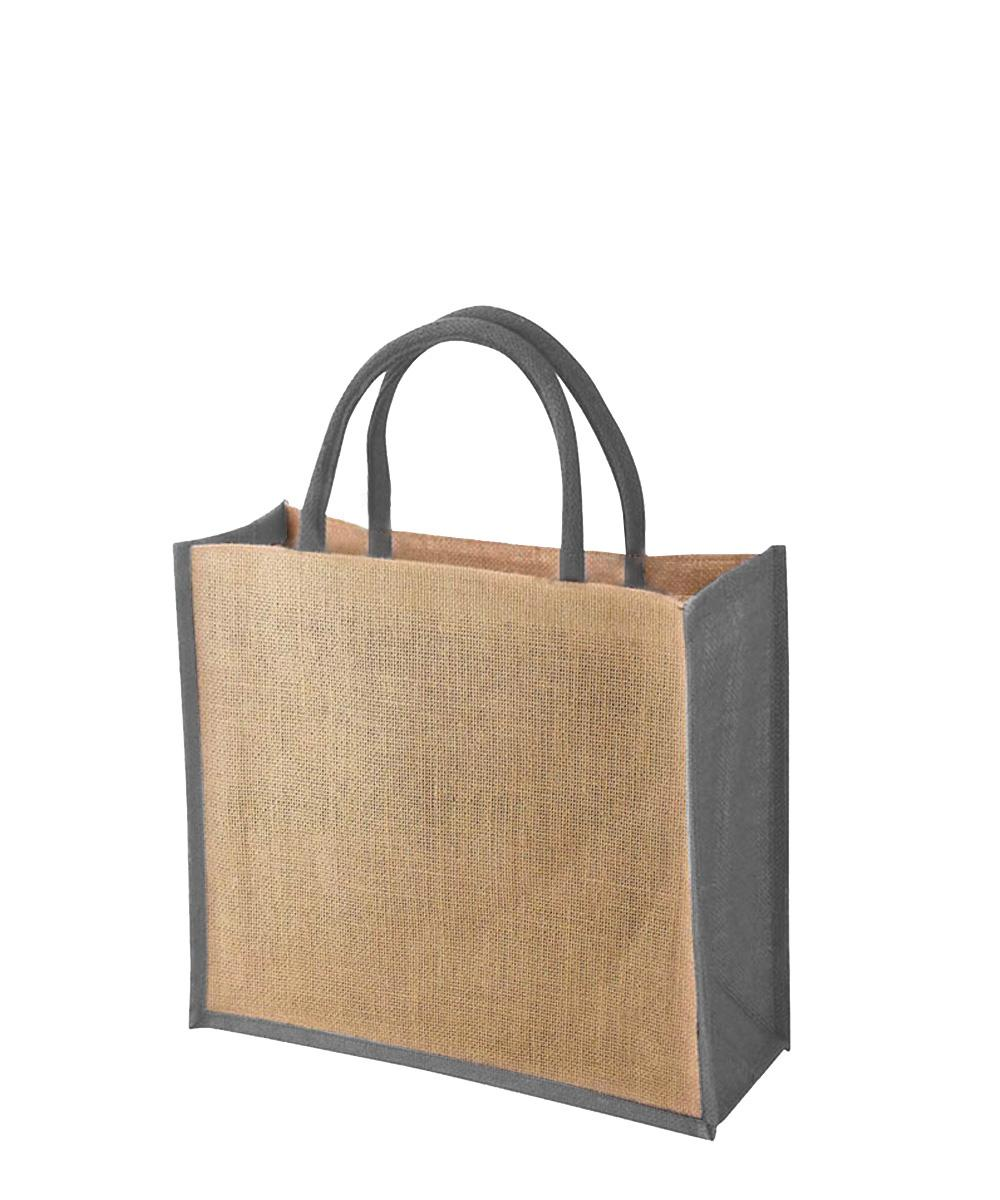 Jute Bag with Grey Gussets