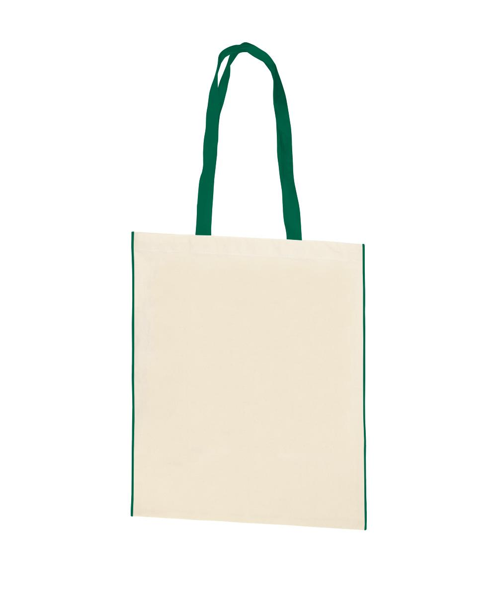 Aster Cotton Canvas Bag with Green Trim