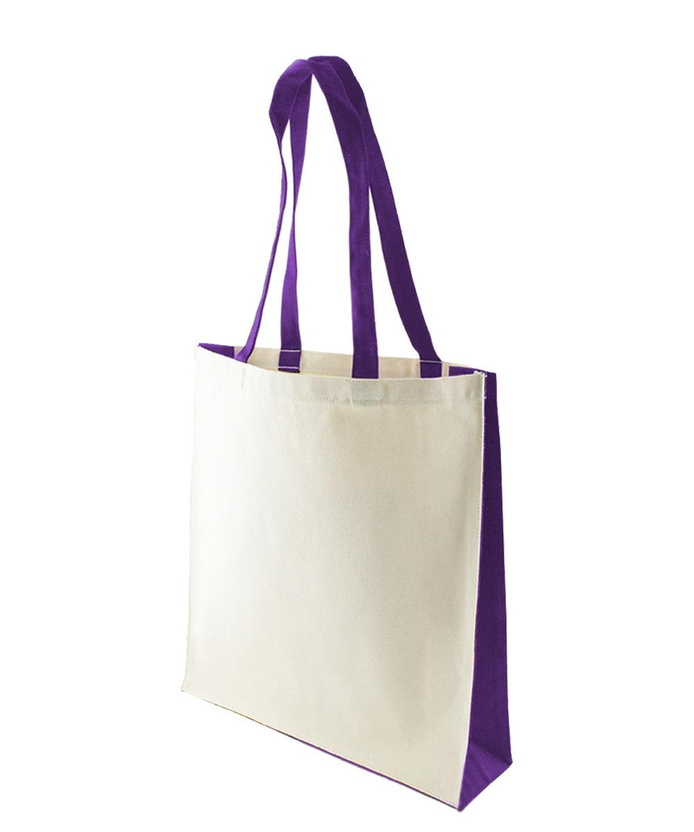 10 oz Canvas Bag with Purple Trim