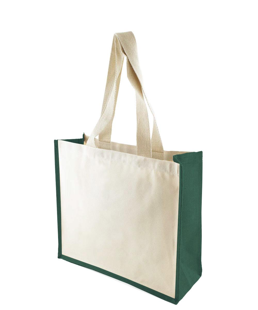 Canvas Bag with Green Jute Gussets