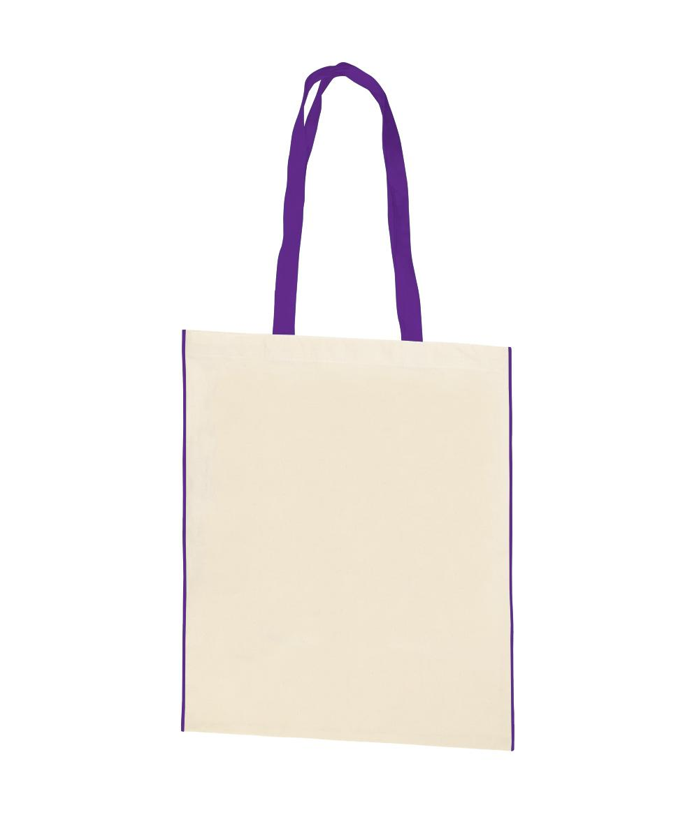 Aster Cotton Canvas Bag with Purple Trim