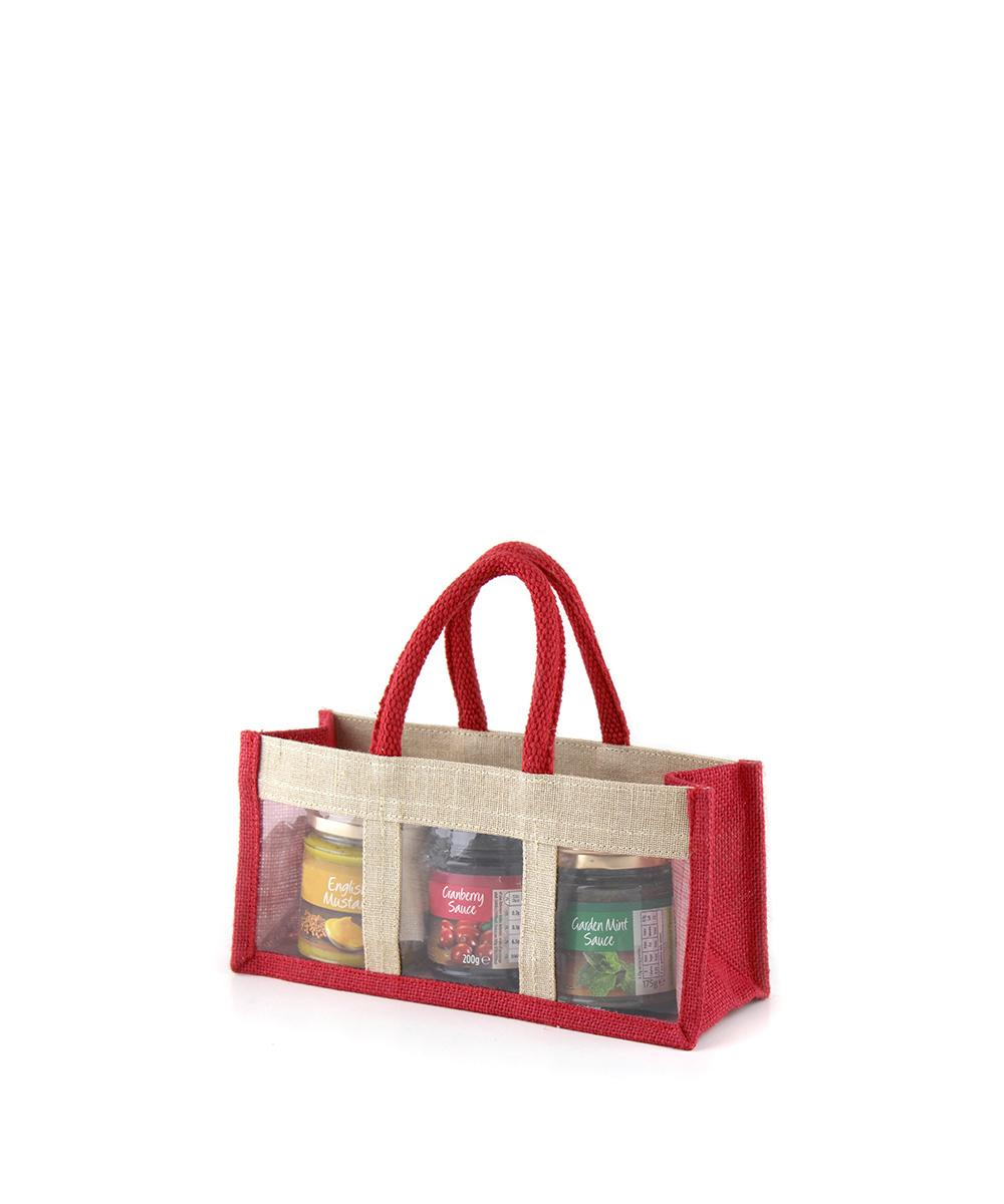 Red Jute Jar Bag