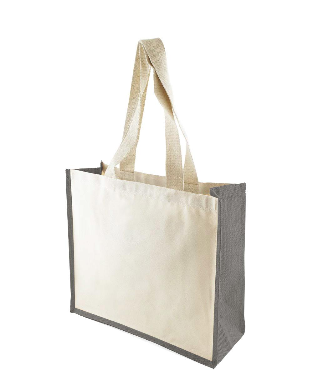 Canvas Bag with Grey Jute Gussets