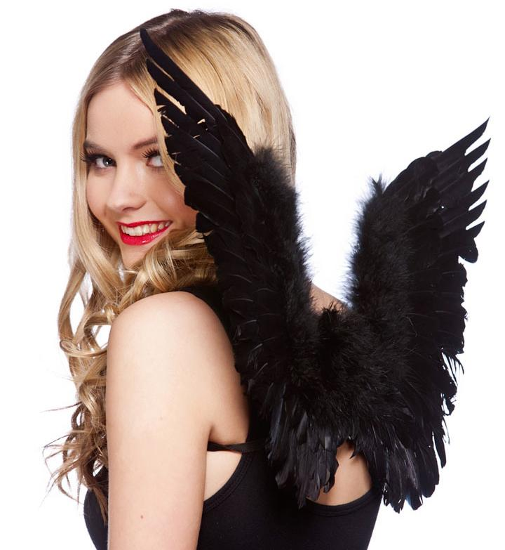 Feathered Angel Wings Black