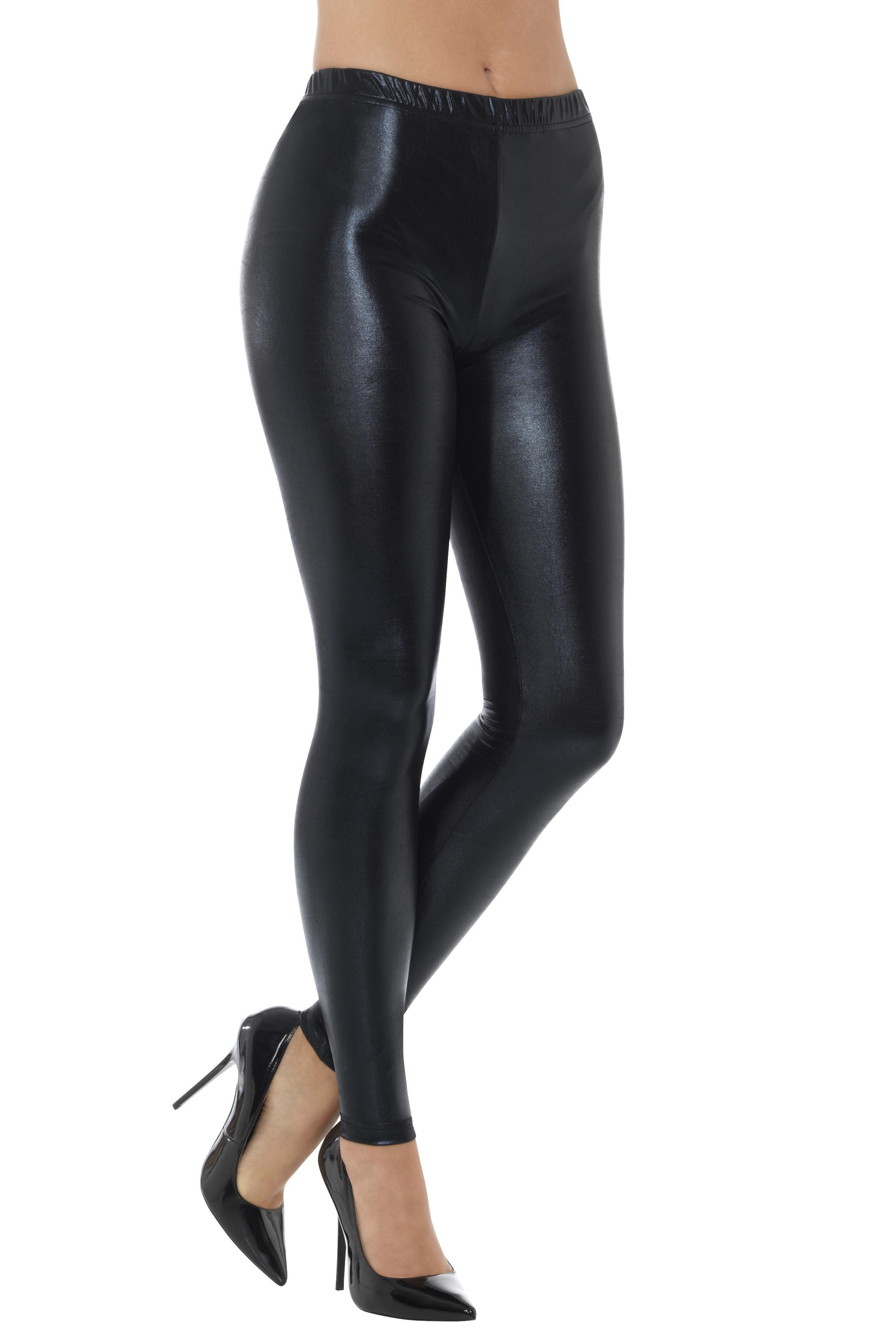 Metallic Disco Leggings Black