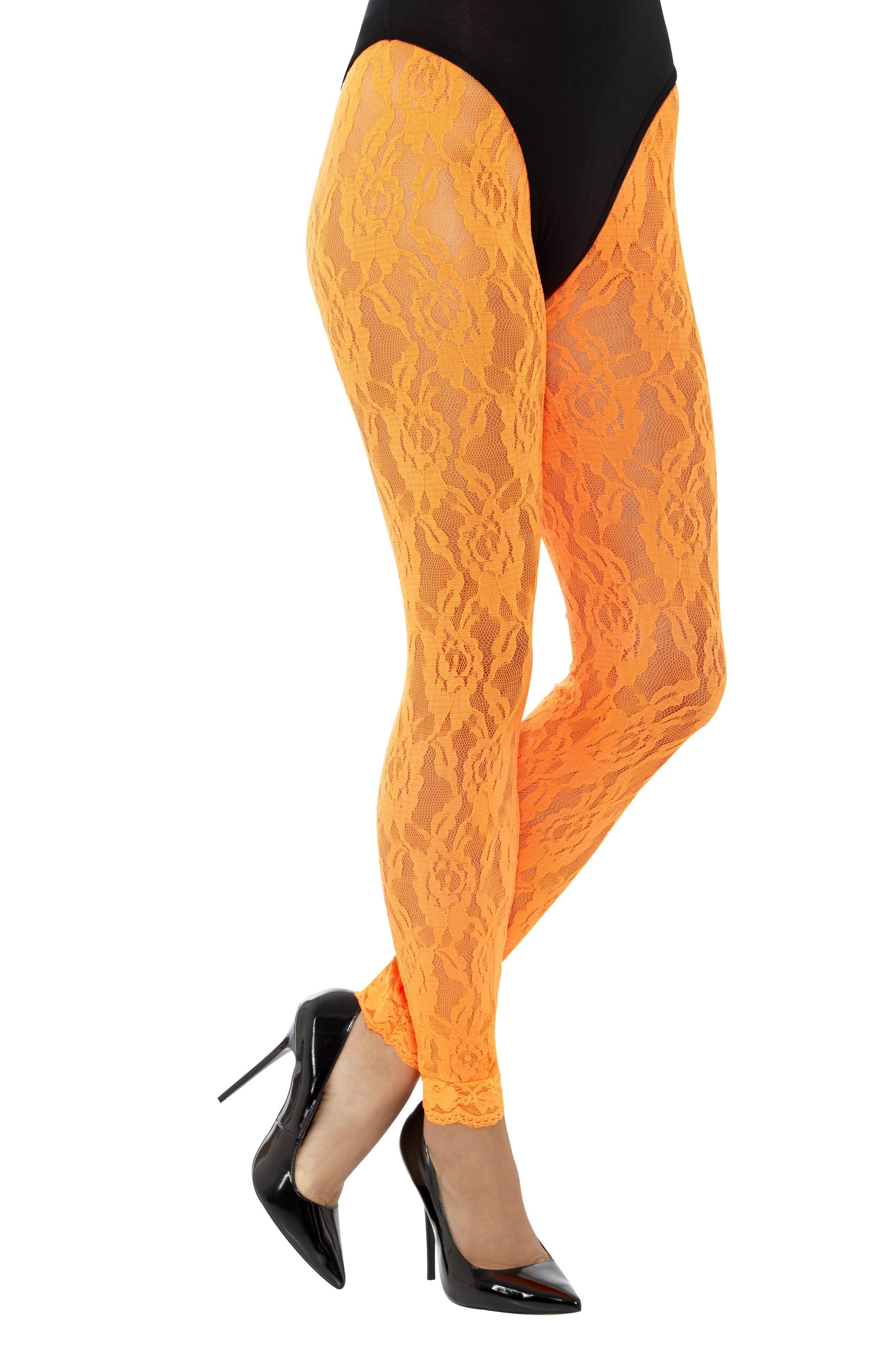 Lace Leggings Neon Orange