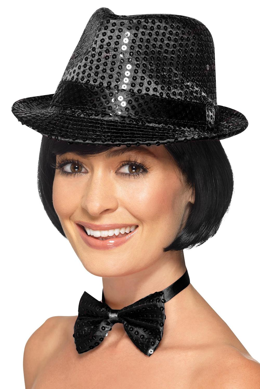 Sequin Trilby Hat Black