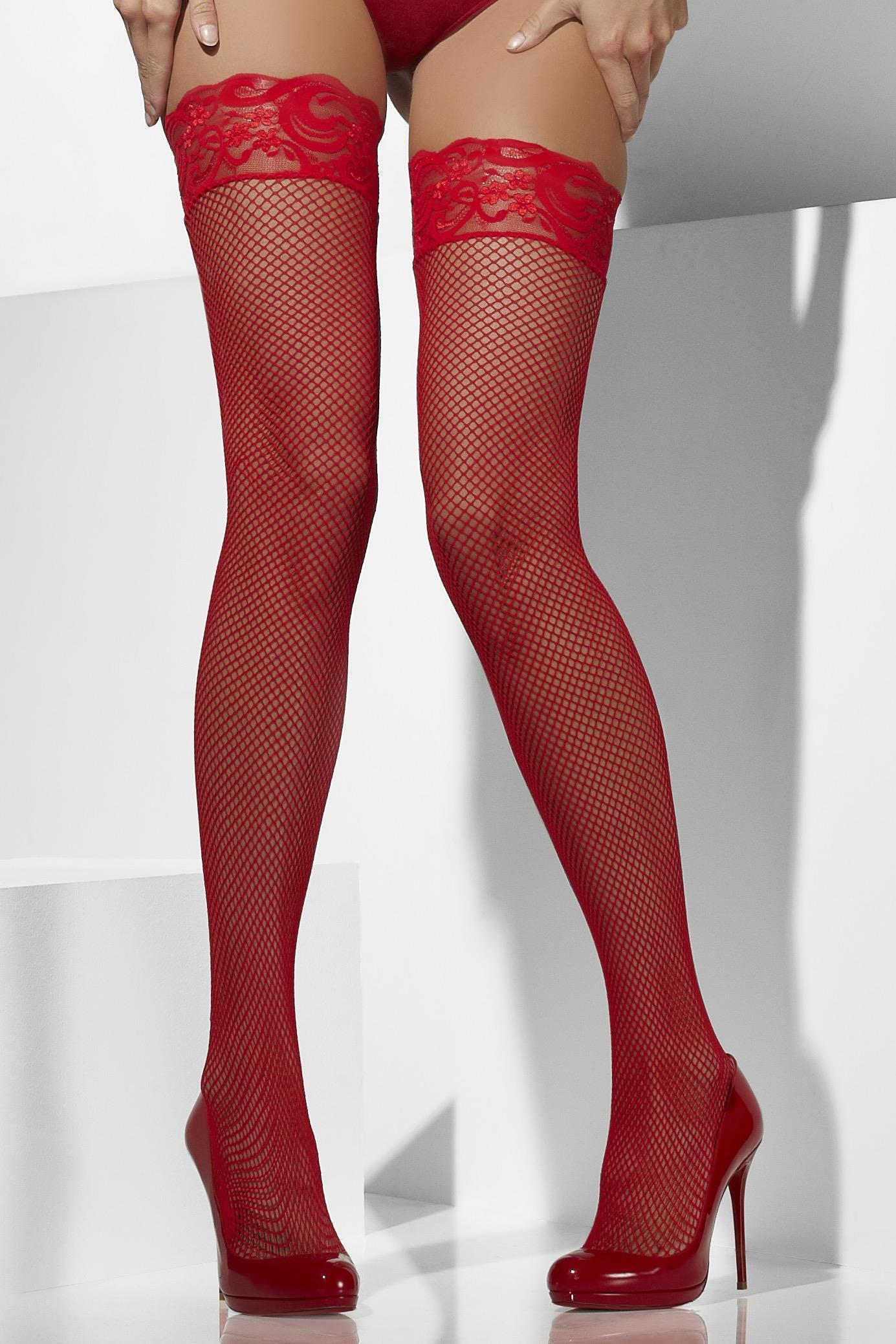 Fishnet Hold-Ups red Lace Top