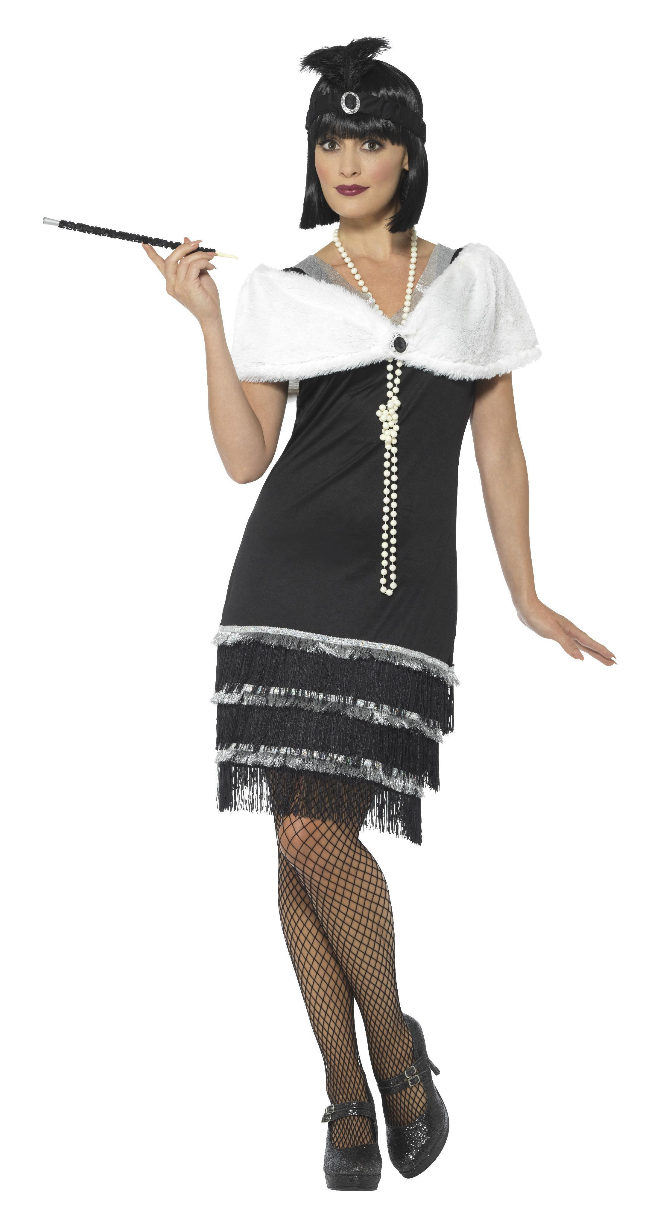 1920s Flapper Costume Black with Stole
