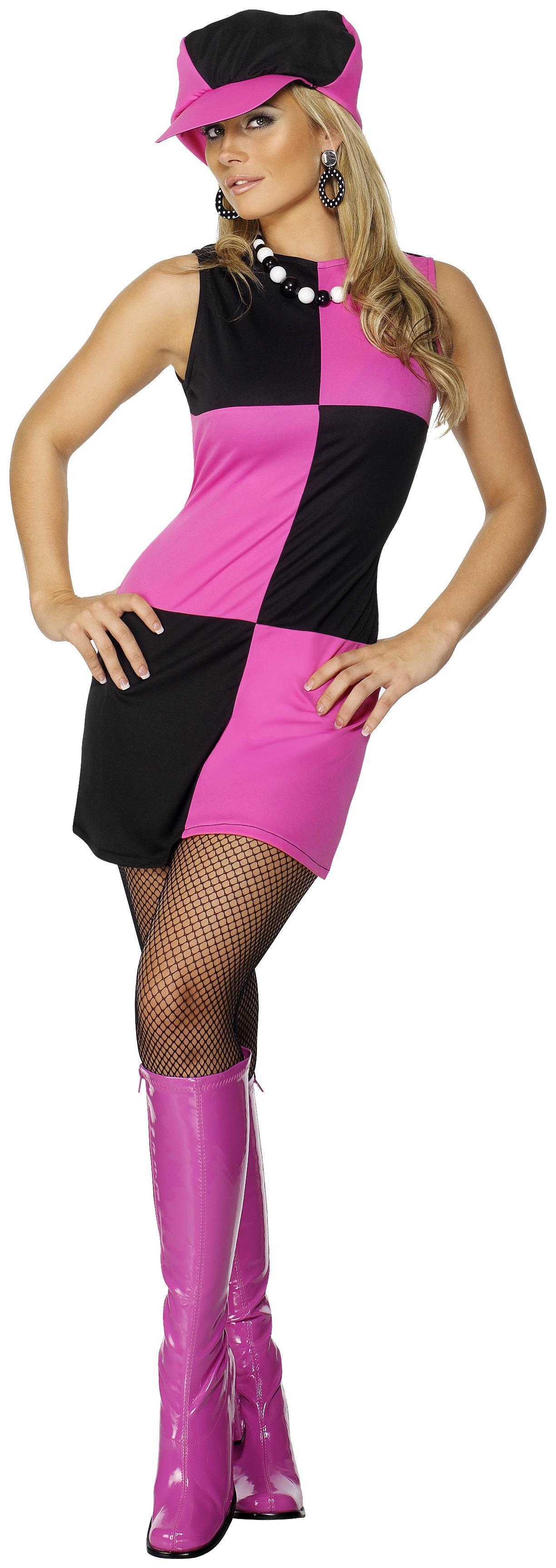 60s Swinging 60s Costume Pink & Black