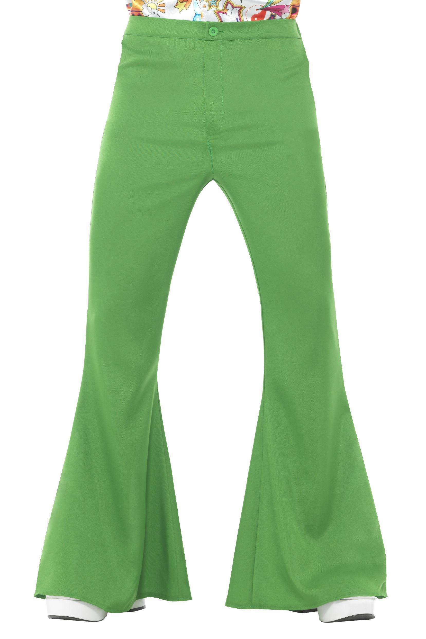 Mens Flared Trousers Green