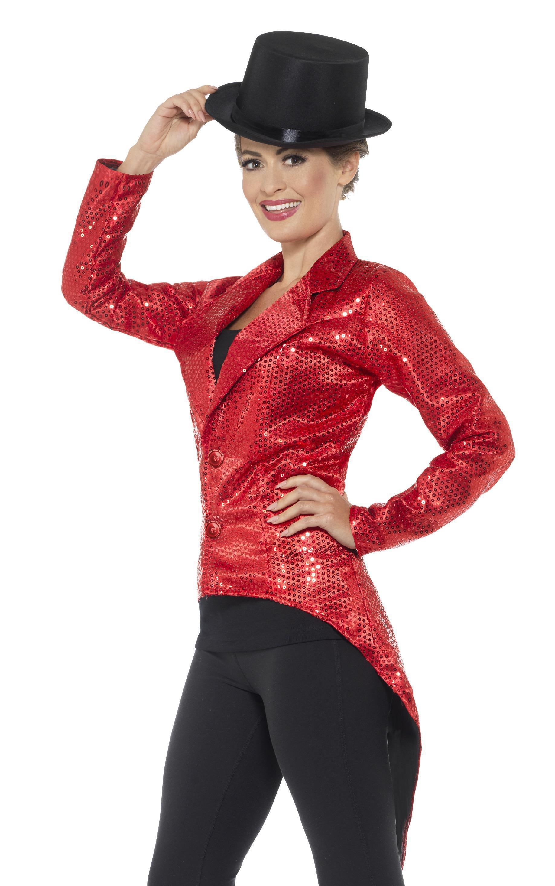 Sequin Tailcoat Jacket Ladies Red