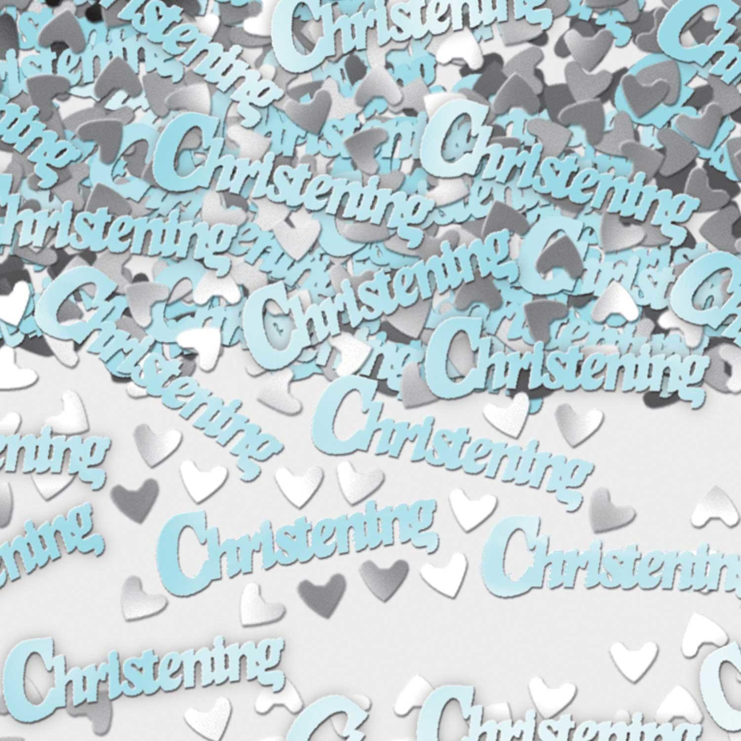 Metallic Confetti Christening Blue