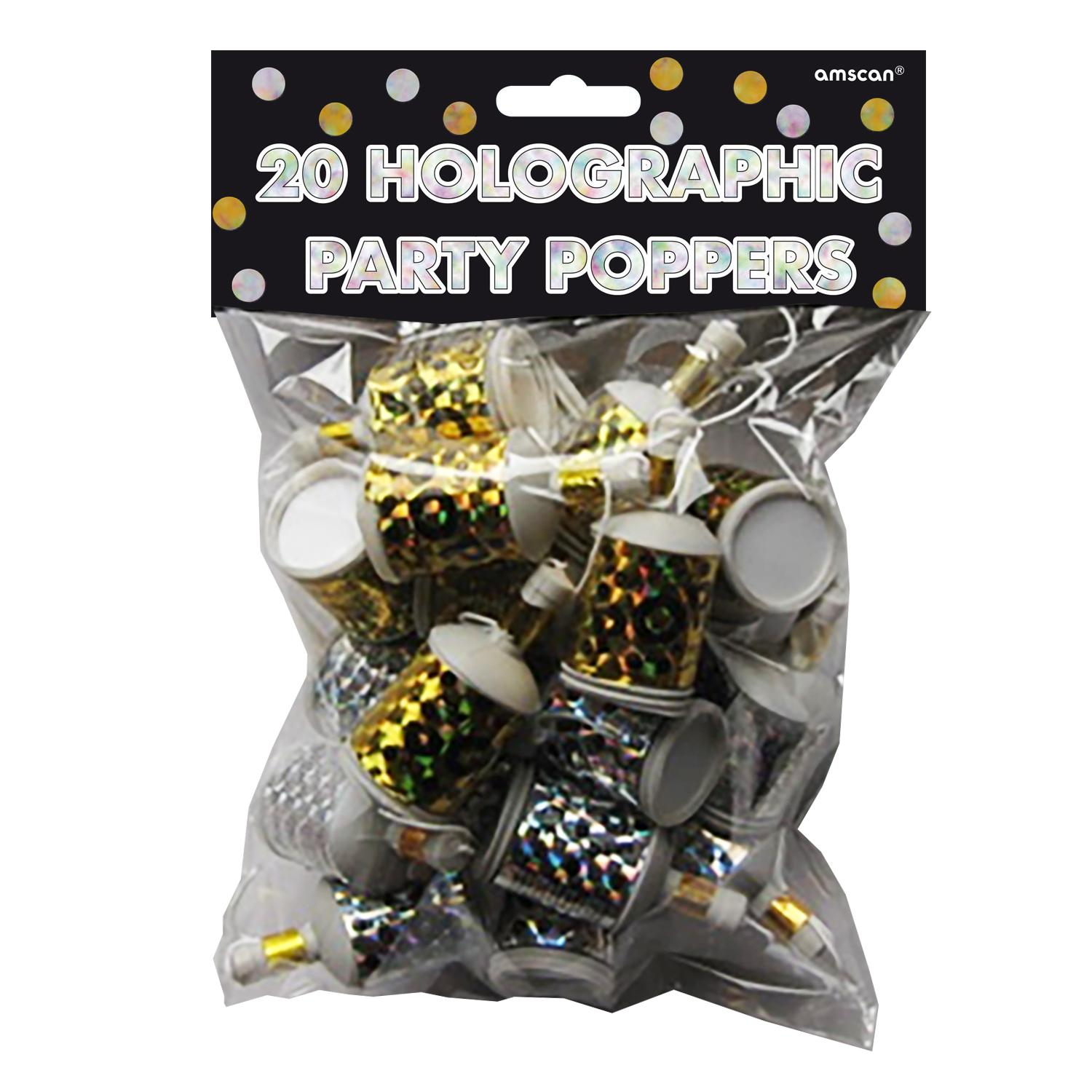 Party Poppers Holographic Silver & Gold