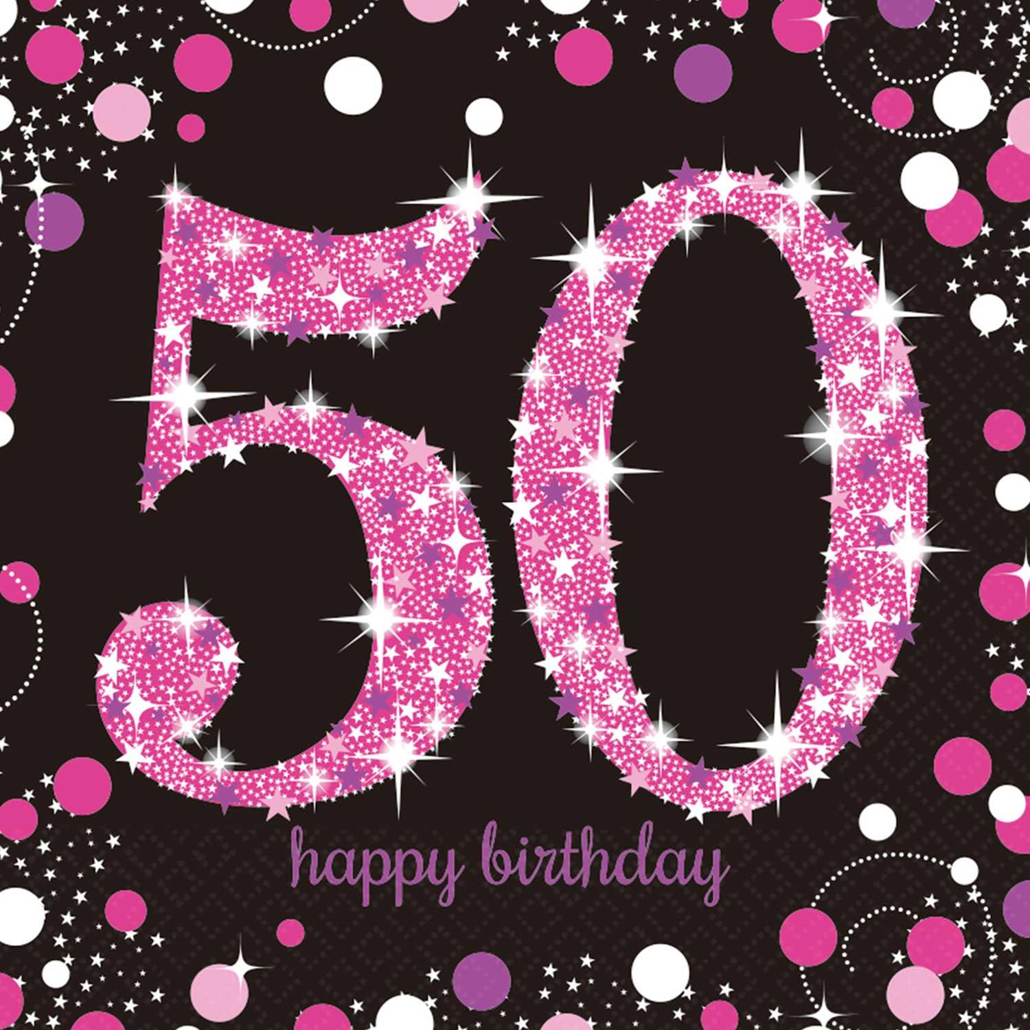 Paper Napkins 50th Birthday Pink & Silver