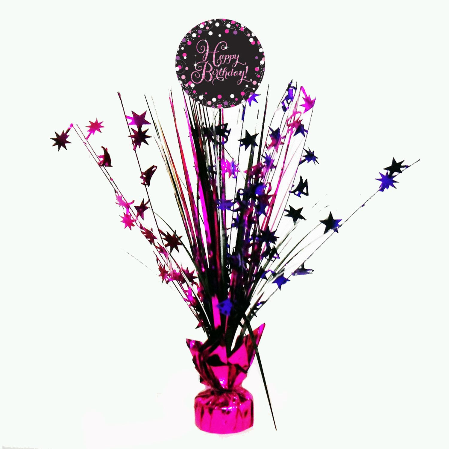 Centrepiece Spray Birthday Black Pink Purple Silver