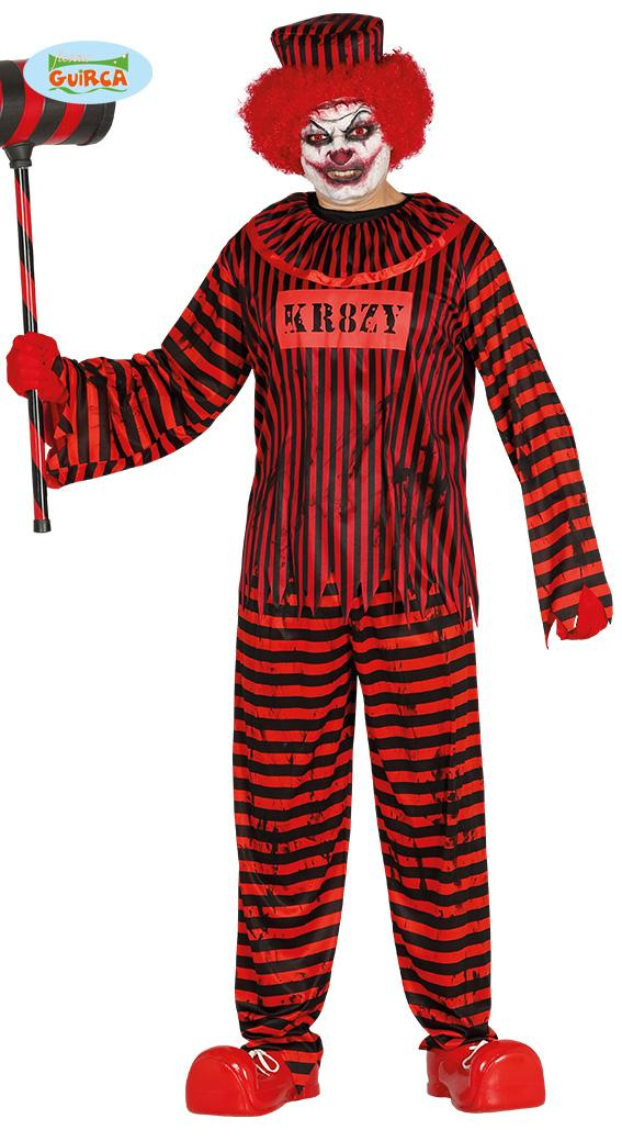 Psycho Clown Costume Red & Black
