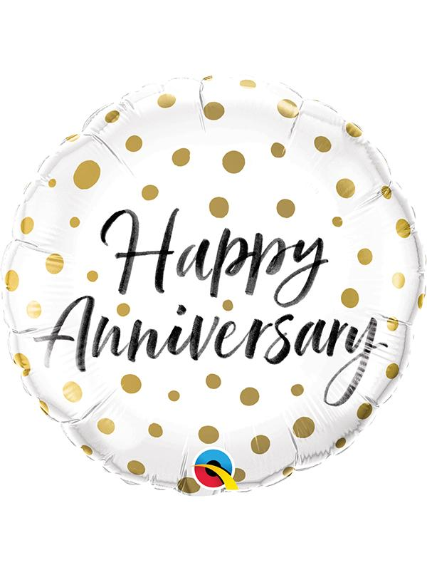 Foil Balloon Happy Anniversary Gold Dots