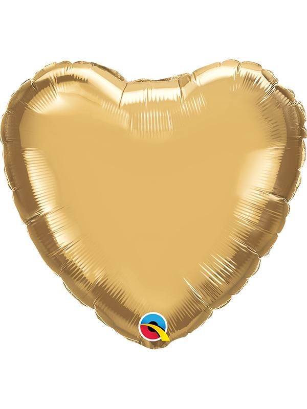Foil Balloon Heart Chrome Gold