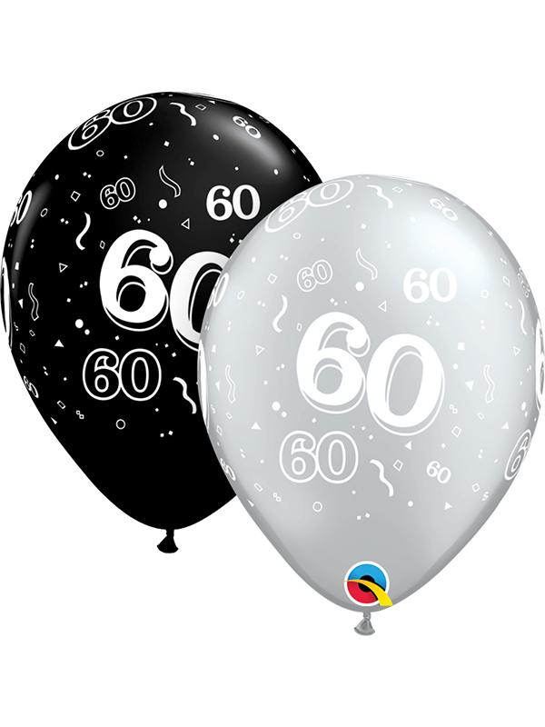 Latex Balloons Black & Silver Age 60