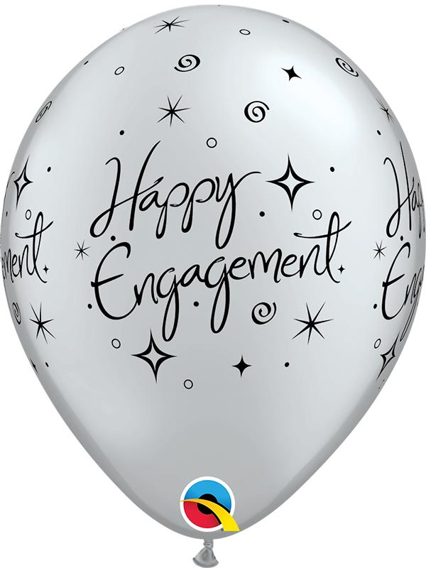Latex Balloons Happy Engagement Silver