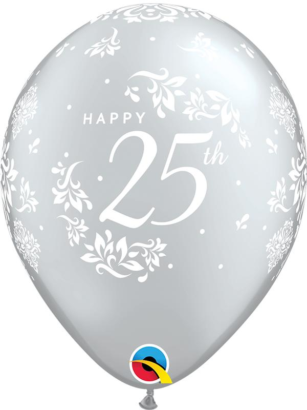Latex Balloons 25th Anniversary Silver