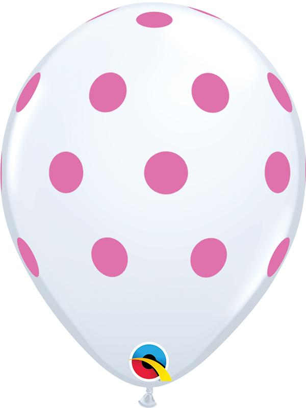 Latex Balloons Polka Dot White & Pink