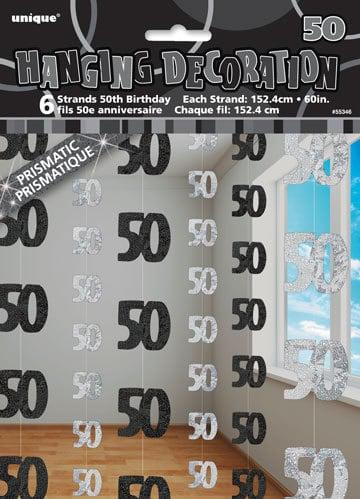 Black & Silver 50th Birthday Hanging String Decorations