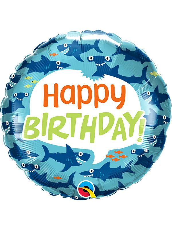 Foil Balloon Happy Birthday Sharks