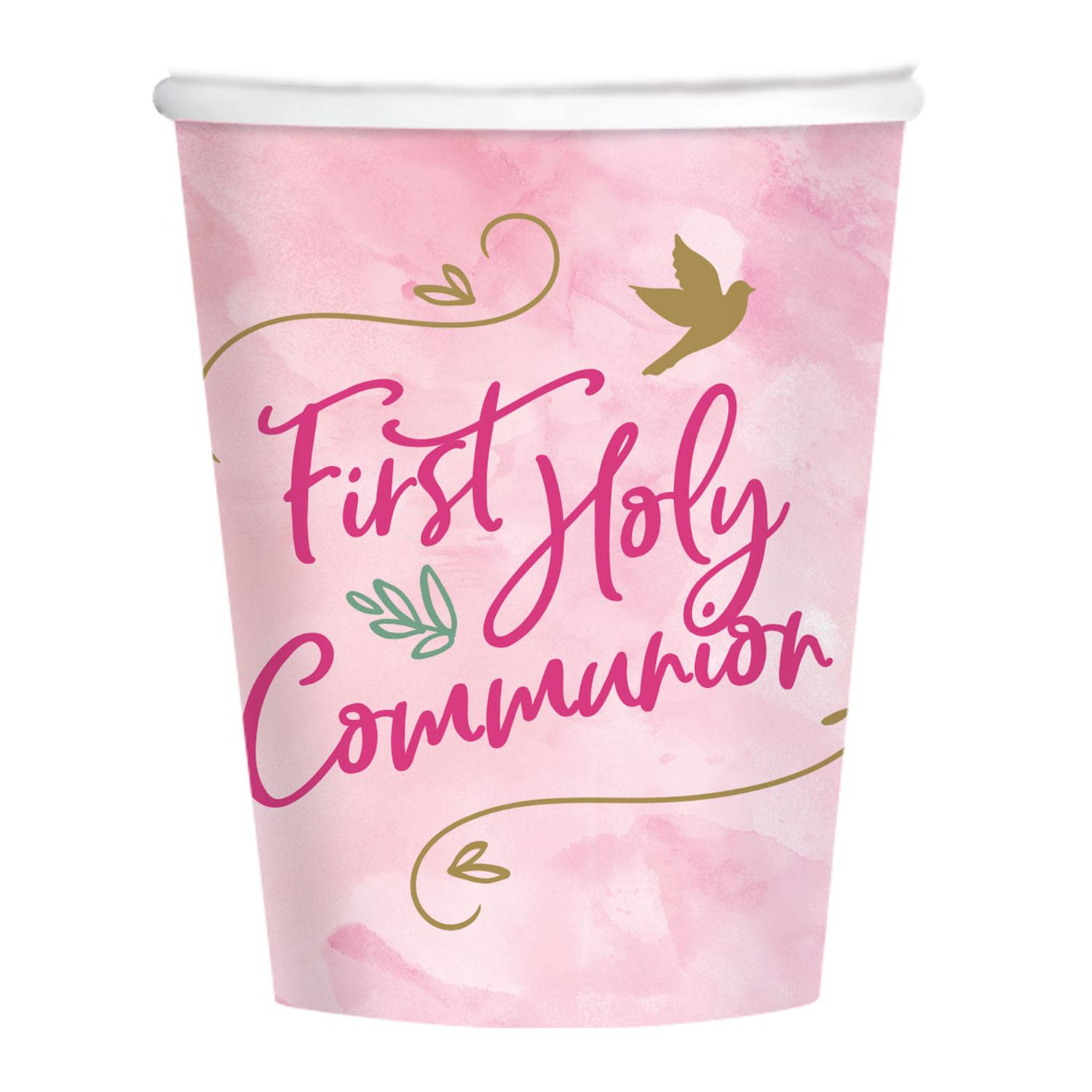Paper Cups First Holy Communion Pink