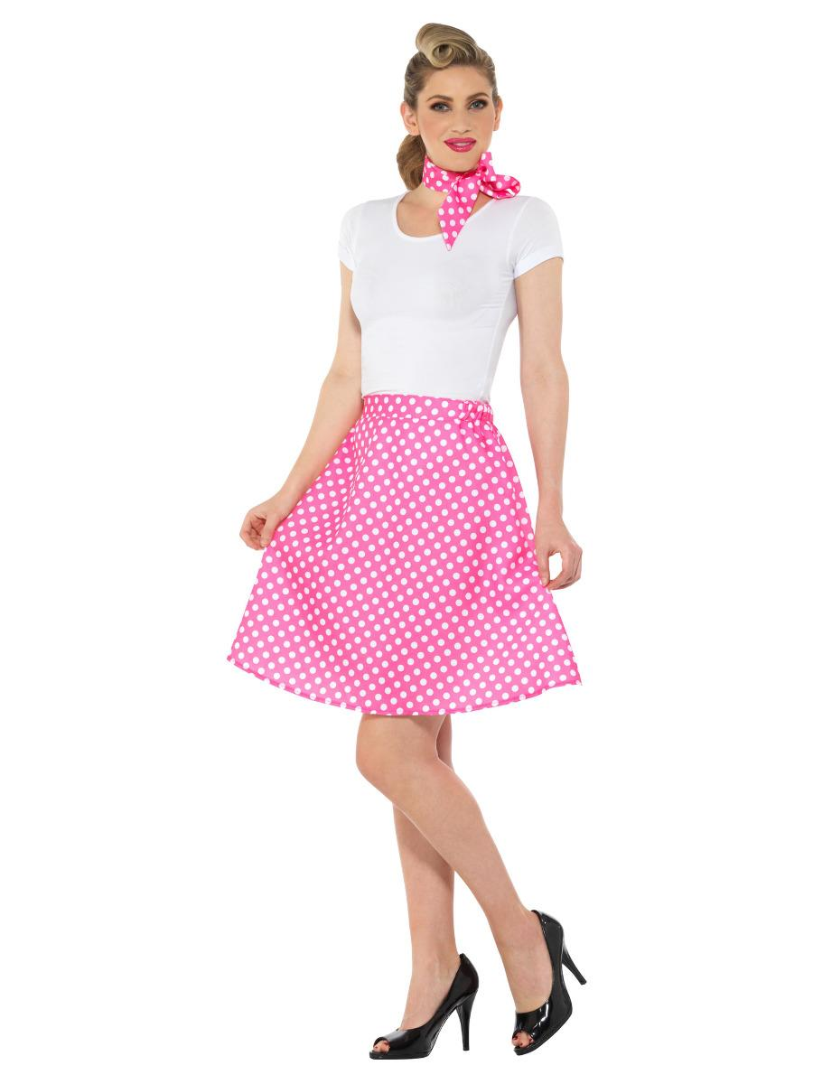 Adults 50s Polka Dot Skirt Pink with Neck Scarf