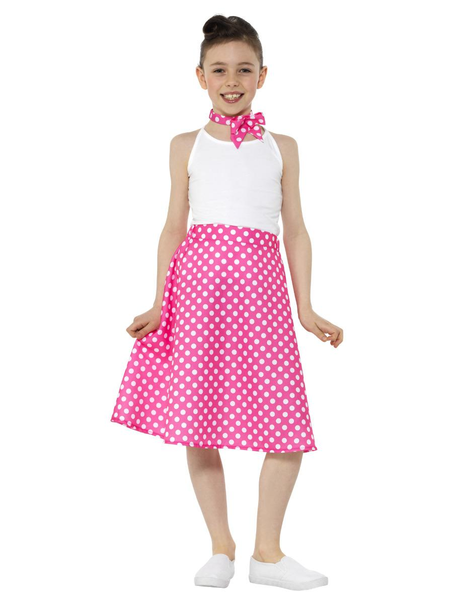Kids 50s Polka Dot Skirt Pink with Neck Scarf
