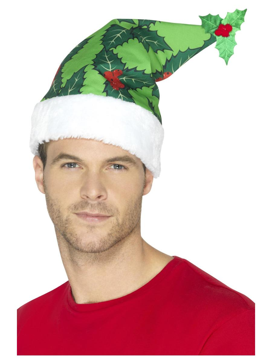 Holly Berry Santa Hat, Green