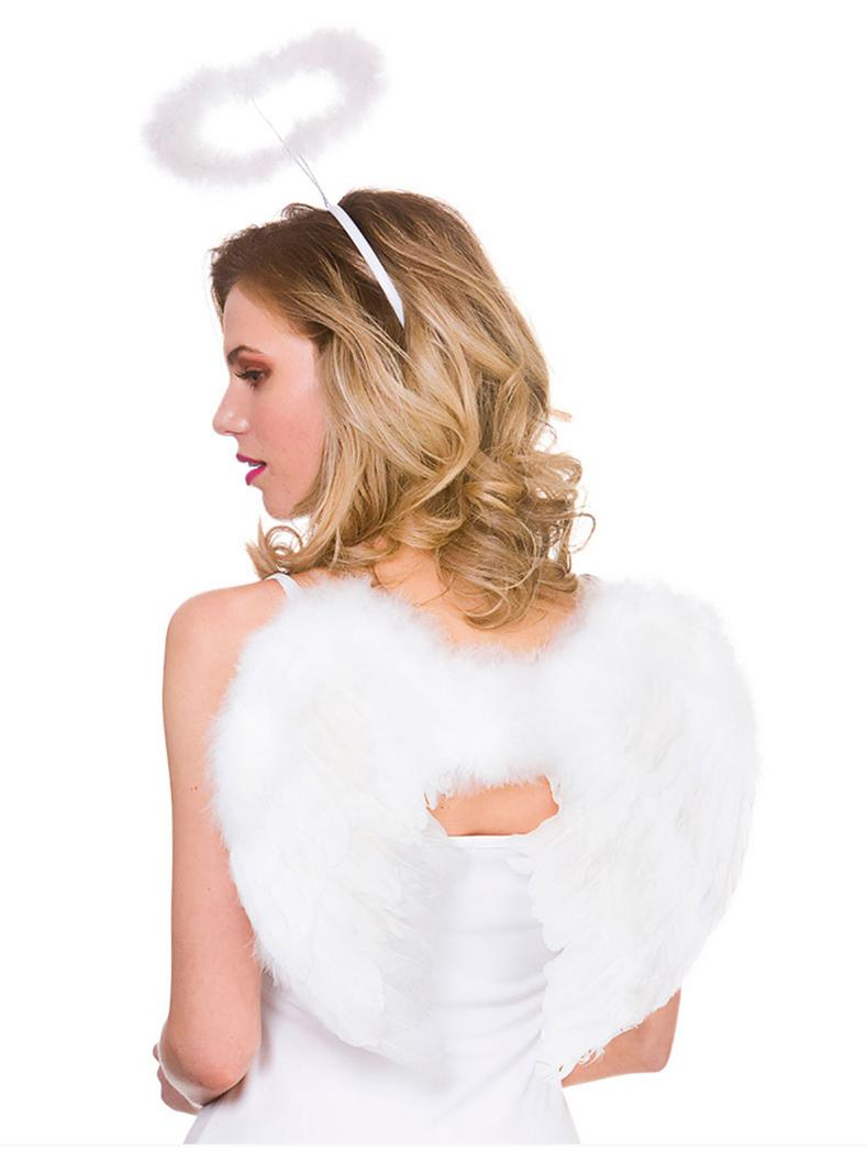 Feathered Angel Wings & Halo White