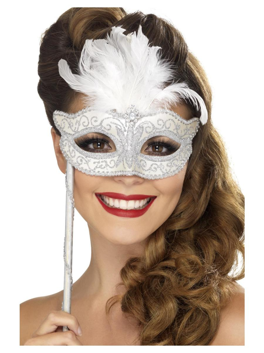Baroque Fantasy Eye Mask with Stick Silver