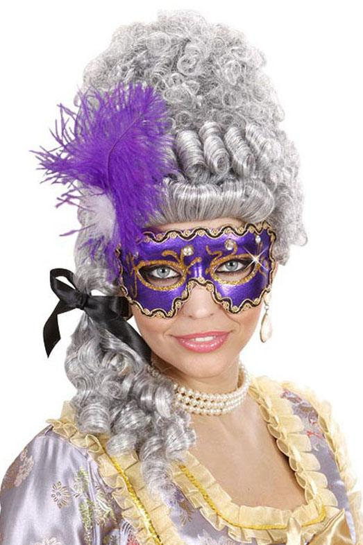 Purple Eye Mask with Gems & Feathers