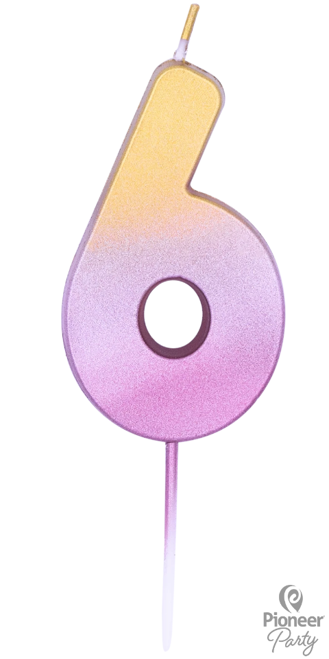 Rose Gold Ombré Number Six Candle