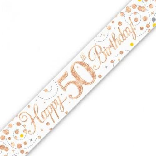 Sparkling Fizz Age 50 White & Rose Gold Holographic Banner